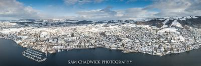 Aerial photograph of Zug in snow