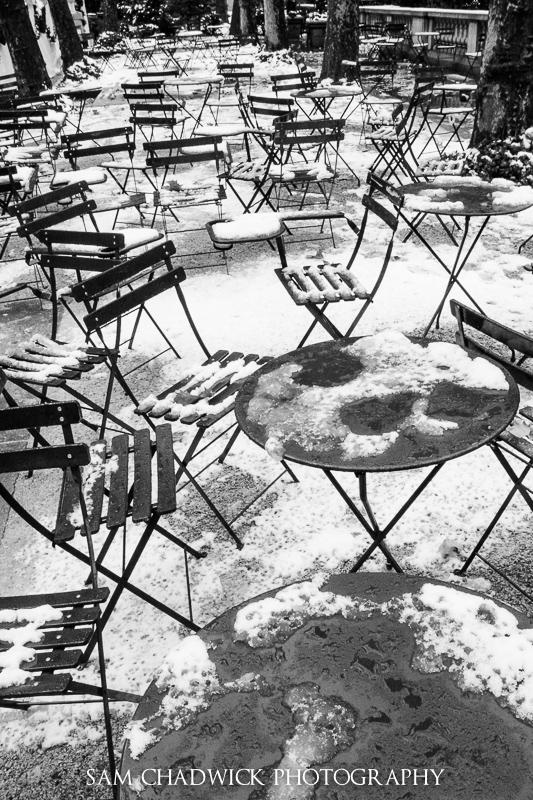 Bryant Park in snow