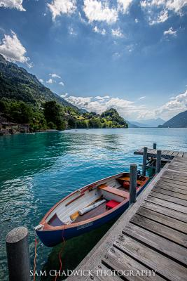 Small fishing boat on Lake Brienz